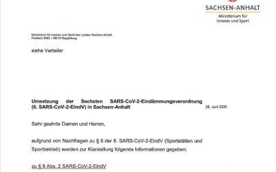 Umsetzung der Sechsten SARS-CoV-2-Eindämmungsverordnung